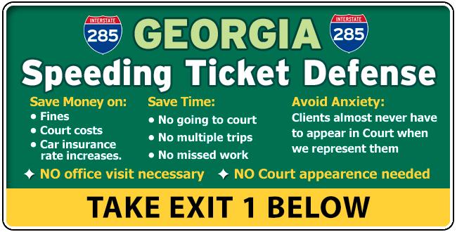 I-285 Georgia Traffic / Speeding Ticket Lawyer Attorney